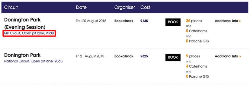The BookaTrack Track Day Calendar