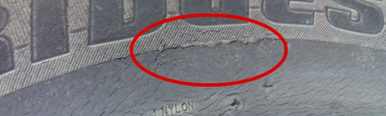 A Cracked Tyre - Do Not Use!