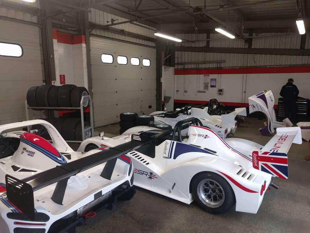 A garage full of Radicals at Brands hatch