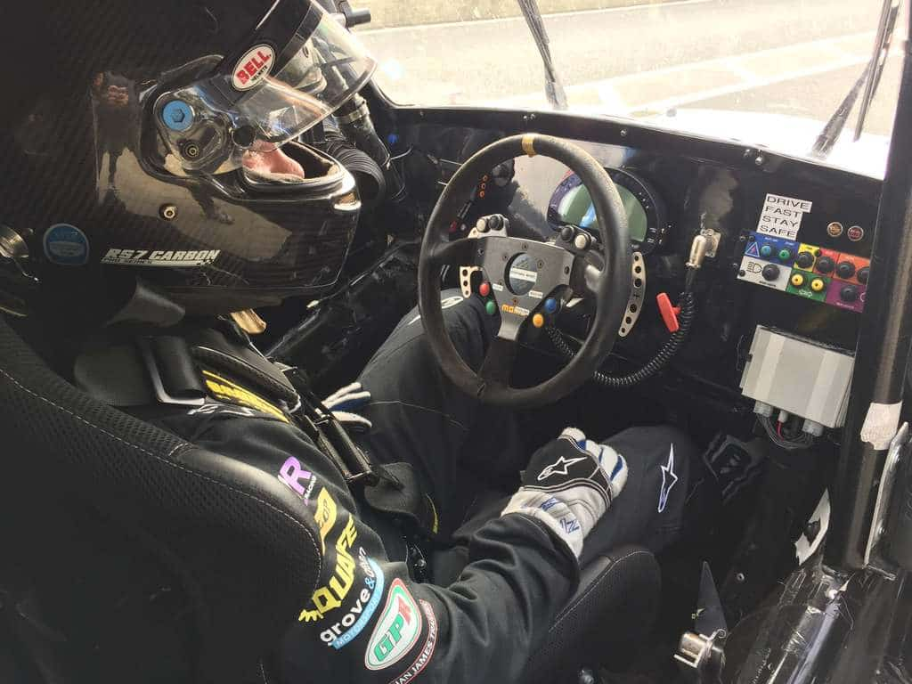 In the cockpit of a Funcup car