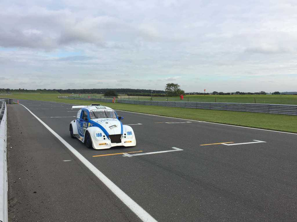on track in a funcup car