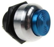 Racing Alloy Push Button Switch Blue / Silver Surround