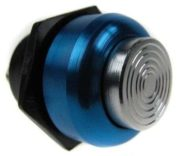 Racing Alloy Push Button Switch Silver / Blue Surround
