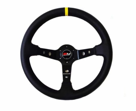 Rally Steering Wheel Deep Dish 350mm Black Leather Black Spoke