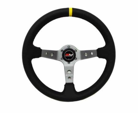 Rally Steering Wheel Deep Dish 350mm Black Leather Titanium Spoke
