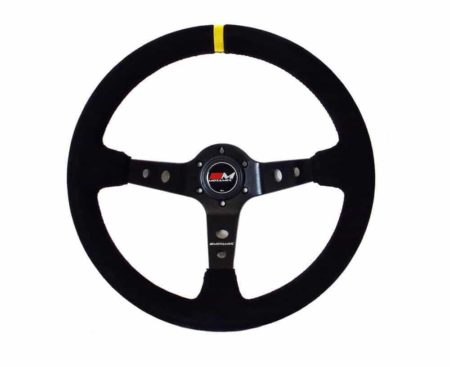 Rally Steering Wheel Deep Dish 350mm Black Suede Black Spoke