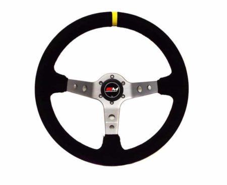 Rally Steering Wheel Deep Dish 350mm Black Suede Titanium Spoke