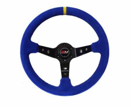 Rally Steering Wheel Deep Dish 350mm Blue Suede Black Spoke