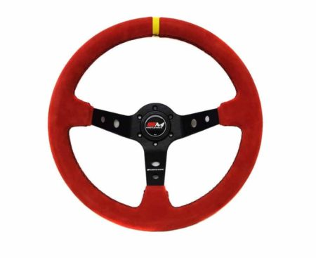 Rally Steering Wheel Deep Dish 350mm Red Suede Black Spoke