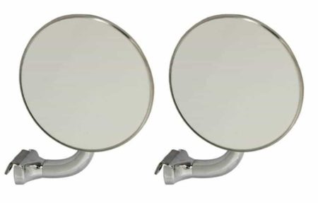 Classic Car 024 Side Door Wing Mirror X2 Chrome Steel Round Curved Arm