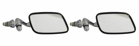 Classic Car 07 Side Door Wing Mirror X2 Chrome Steel Square Vw Style