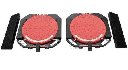 Alloy Wheel Steering Turntables Aluminium Turn Plates 2 Tonne Pair & Ramp By Motamec