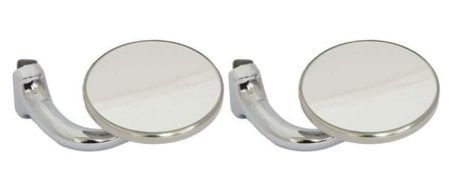 Classic Car Side Door Wing Mirror X2 Chrome Small Round Curved Arm