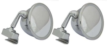Classic Car 05 Side Door Wing Mirror X2 Chrome Steel Round Clamp On Bull