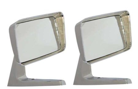 Classic Car 09 Side Wing Mirror X2 Chrome Steel Square American Style