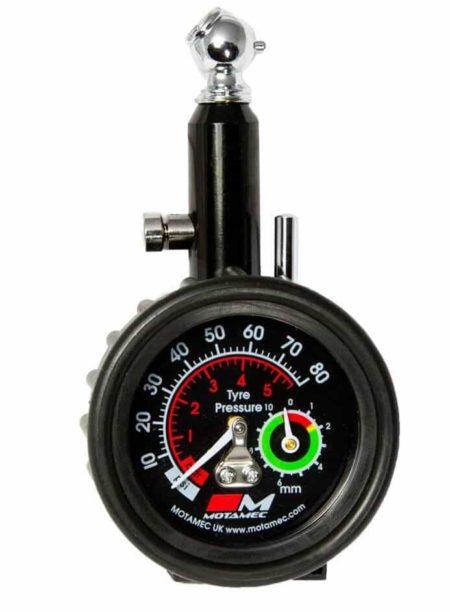 Motorsport Tyre Pressure Gauge Tread Depth Gauge Analogue Dial 0-80 psi By Motamec