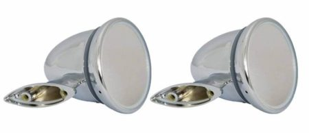 Classic Car 04 Side Door Wing Mirror X2 Chrome Steel Round Bullet Style