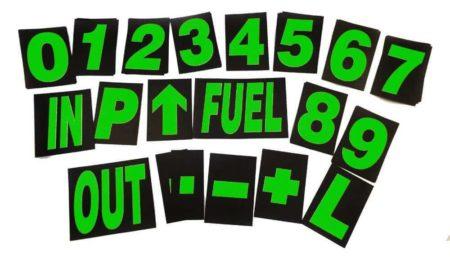 Large Pro Motorsport Race Pit Board Numbers Set Green 24cm High By Motamec