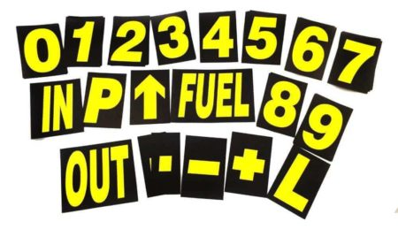 Large Pro Motorsport Race Pit Board Numbers Set Yellow 24cm High By Motamec