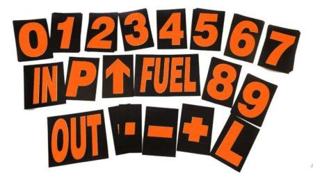 Large Pro Motorsport Race Pit Board Numbers Set Orange 24cm High By Motamec