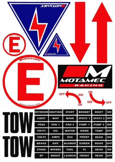 Racing MSA Scrutineer Safety Decal Stickers Sheet Electrical Cut Off Etc