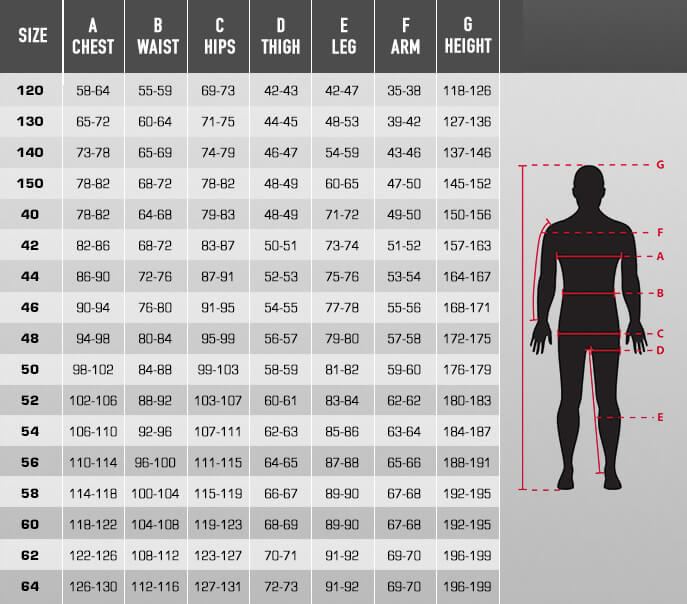 Billedresultat for alpinestars suit size chart
