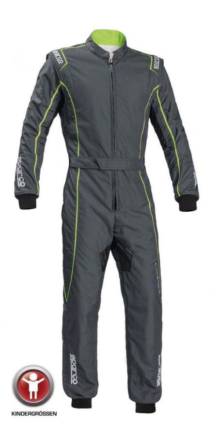 Sparco Groove KS-3 Children's Kart Suit in Grey & Green