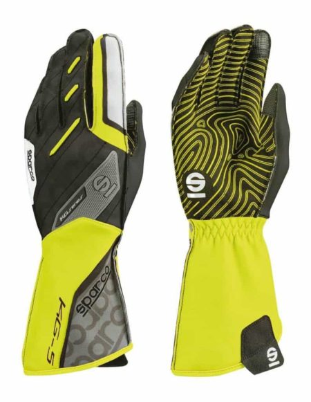Sparco Motion KG-5 Kart Gloves in Fluro Yellow