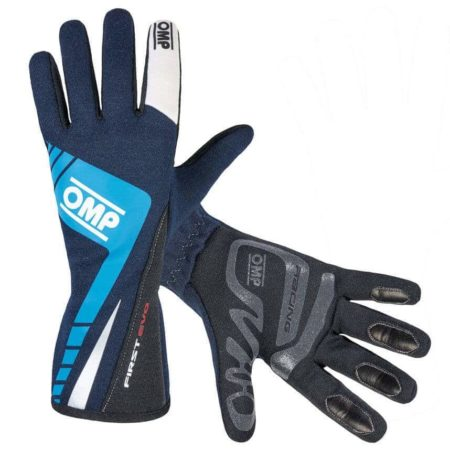 OMP First Evo Race Gloves in Blue
