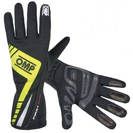 OMP First Evo Race Gloves in Black & Yellow