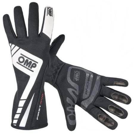 OMP First Evo Race Gloves in Black & White