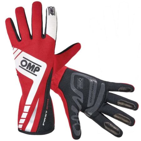 OMP First Evo Race Gloves in Red & White