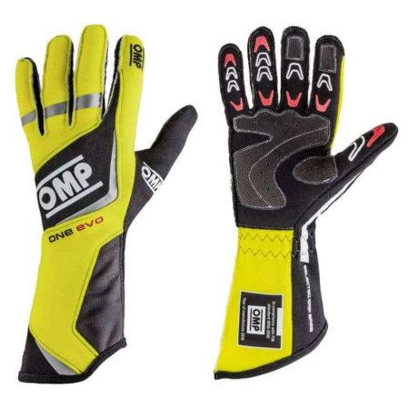 OMP One Evo Race Gloves in Yellow