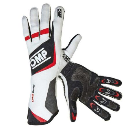 OMP One Evo Race Gloves in White & Red