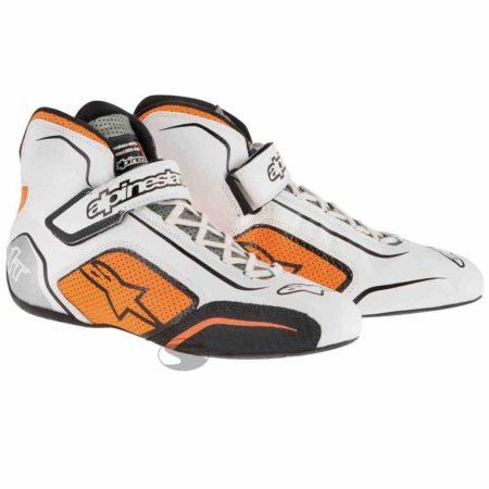 Alpinestars Tech 1-T Race Boots in White & Orange