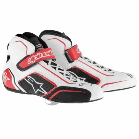Alpinestars Tech 1-T Race Boots in White & Red