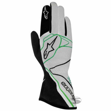 Alpinestars Tech 1-Z Race Gloves in Grey & Green