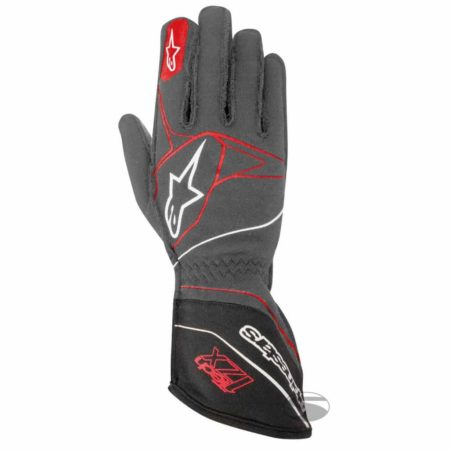 Alpinestars Tech 1-ZX Racing Gloves in Anthracite Grey & Red