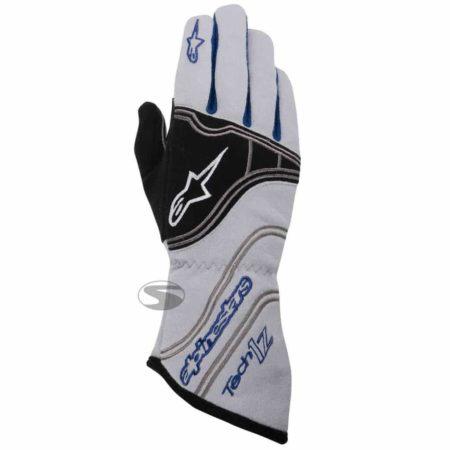 Alpinestars Tech 1-Z Race Gloves in White & Blue