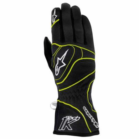 Alpinestars Tech 1-K Kart Gloves in Black & Fluro Yellow