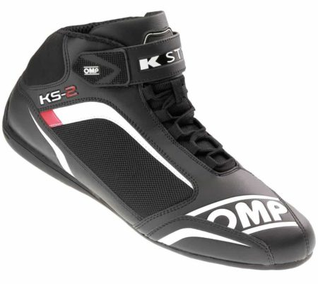 OMP KS-2 Kart Boots in Black & White