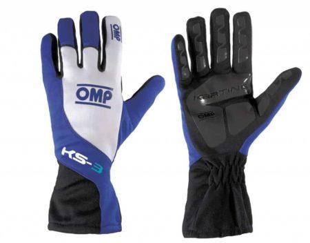 OMP KS-3 Kart Gloves in Blue & White