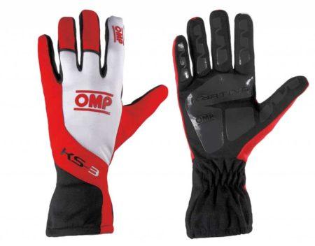 OMP KS-3 Kart Gloves in Red & White