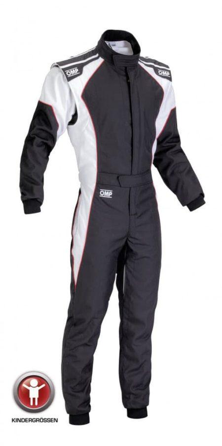 OMP KS-3 Kart Suit - Child Sizes in Black & White