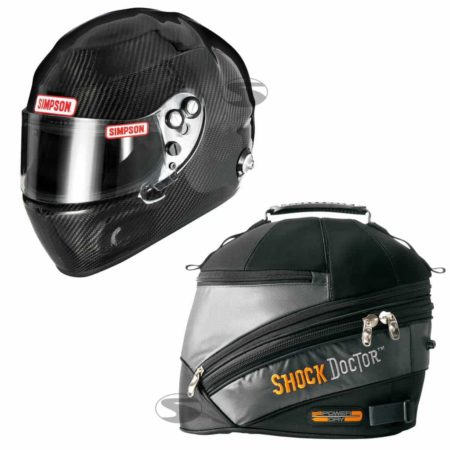 Simpson Carbon Devil Ray Race Helmet + Shock Doctor Power Dry Helmet Bag