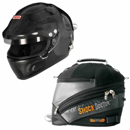 Simpson Carbon Devil Ray Touring Helmet + Shock Doctor Power Dry Helmet Bag