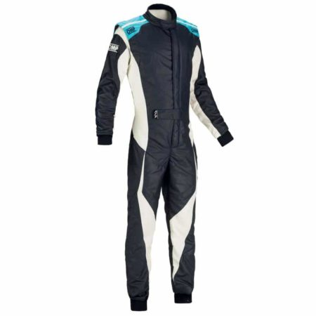 OMP Tecnica Evo Race Suit 2018-Navy Blue / White / Cyan