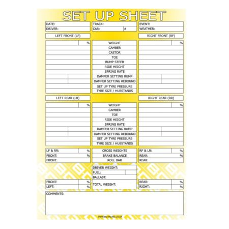 B-G Racing - Chassis Set Up Sheets (Pad of 50)