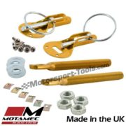Motamec Bonnet Pins Competition Alloy with Retained Slider Lynch Pin Gold Race R