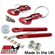 Motamec Bonnet Pins Competition Alloy with Retained Slider Lynch Pin Red Race Ra
